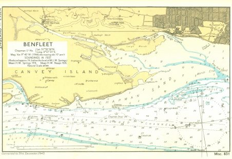 """1943 - 1.25"""" to the mile - Benfleet Chart - Soundings in feet"""