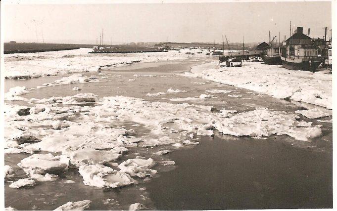 A view of ice in Benfleet Creek, taken looking westwards from the bridge