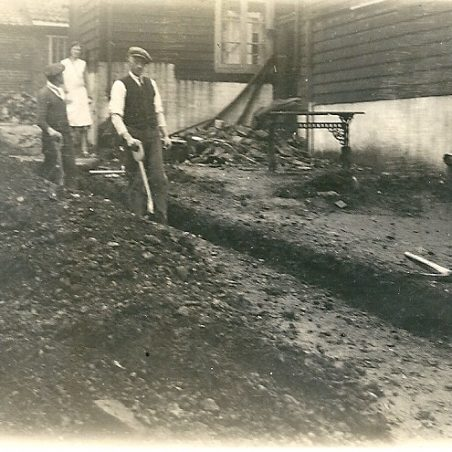 Digging the footings for what is now the rear of the pub.   Joan English