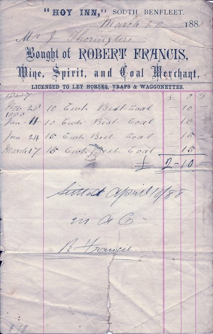 In 1888 the landlord of The Hoy Inn was also a coal merchant. Bill for Mrs Thorington, from the then landlord Robert Francis | Joan English (nee Phillips)