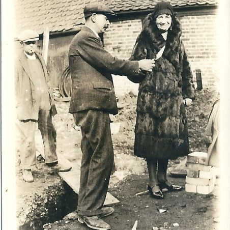 Laying the foundation stone at The Hoy, wife of the Landlord, Annie Phillips, 1931   Joan English