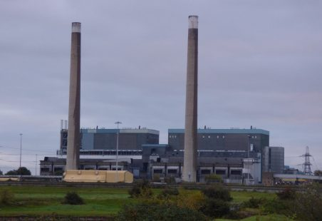 Demolition of Tilbury Power Station's chimneys
