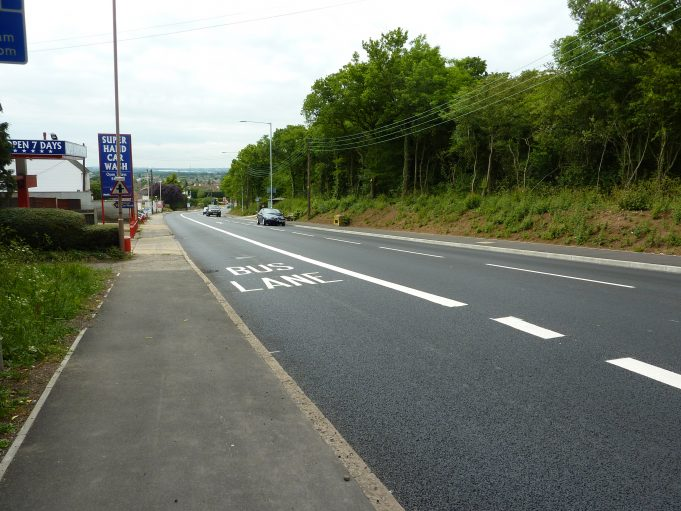 Bread and Cheese Hill with the newly completed bus lane May 2011 | Margaret March