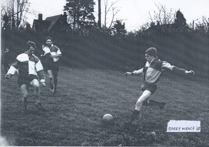 Football on the playing field.  Barry Mence, 1968 and who are the other two players? | Glenn Newman