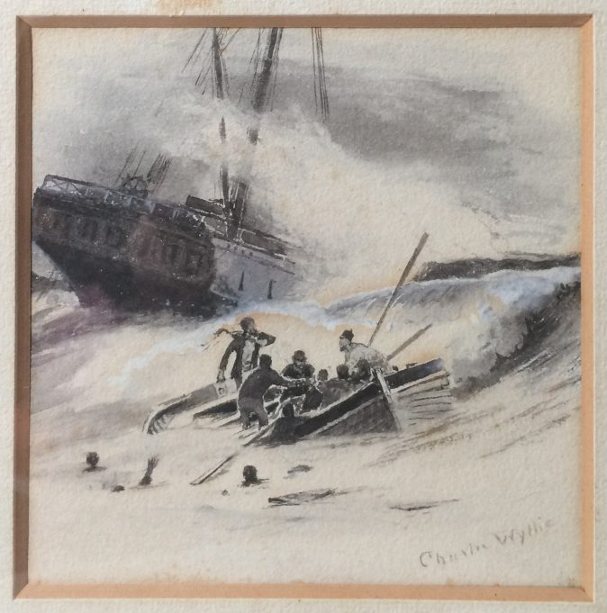Painting by Charles Wylie of a ship in distress   Supplied by Karin Clark