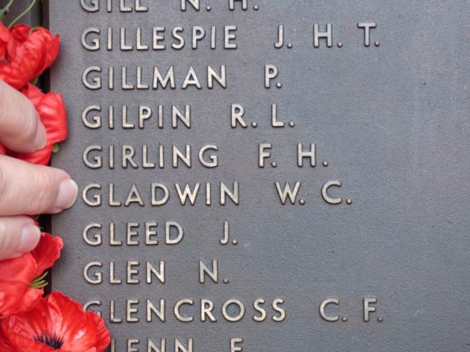 W.C.Gladwin recorded on the Australian National War Memorial. | Christine Coley