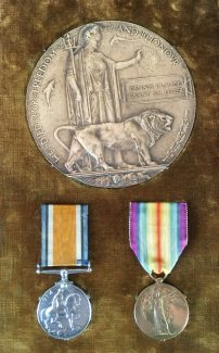 2nd Lt Dennis Claude Grant St Leger's Death Penny and War Medals | Source: the Young family archive