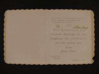 2. Christmas card from Miss Hilda Ellison.