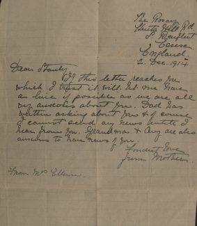 3. Letter from Sapper Ellison's mother.