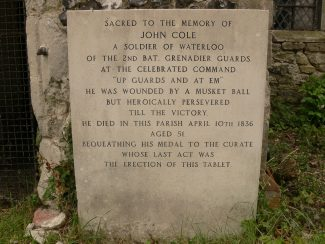 A tablet dedicated to John Cole, a soldier who fought at the Battle of Waterloo | Ronnie Pigram