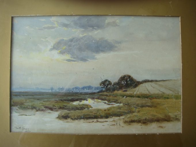 Benfleet Marshes painted by Hamilton Chapman in 1925