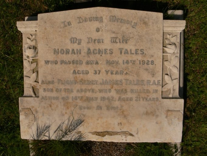 Grave Headstone of Flight Sergeant James Tales and his mother Norah Agnes Tales | Ronnie Pigram