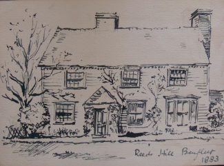Reeds Hill Farmhouse now demolished. Drawn by Charles Nicholson circa 1883