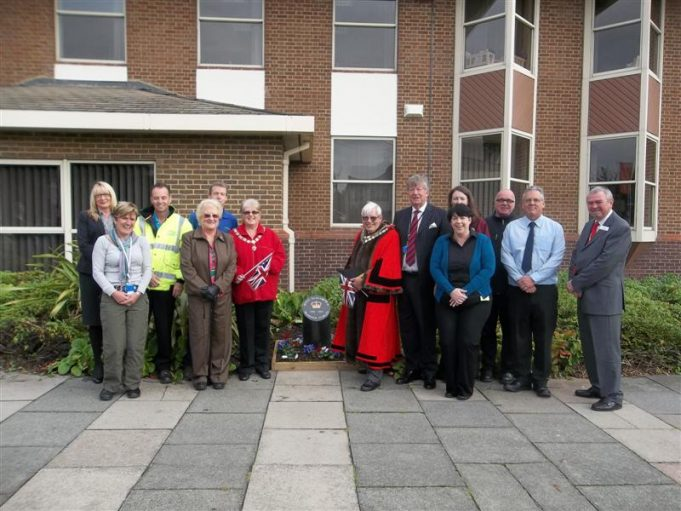 Dignitaries with staff from the council who helped fund the stone and arrange the flower beds. | Castle Point Council