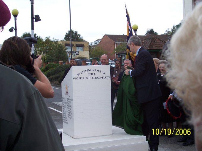 Derek Twigg MP, Minister for Veterans unveils the new Memorial. | Ian Hawks