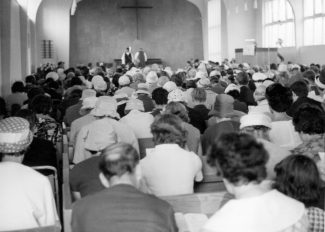 The church was packed for the dedication service, 17th July 1964.  The music was played by Ina Osborne on the new organ.
