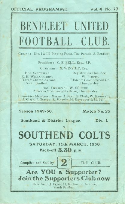 11th March 1950: v Southend Colts