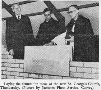Fred Wright, church Warden, Rev'd. Carlos and Archdeacon lay the foundation stone.