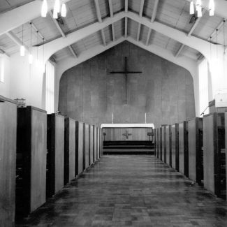 Looking east towards the altar of the new church of St George.