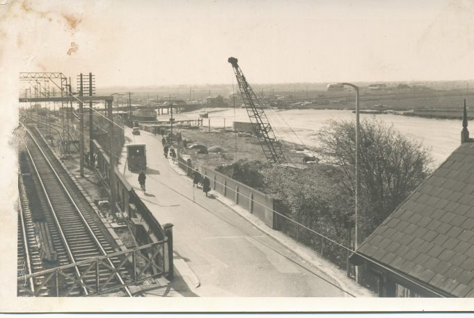 Building work creekside of railway line