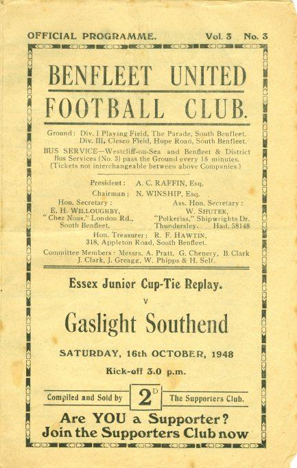 16th October 1948: v Gaslight Southend