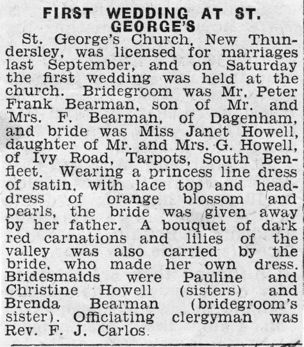 The first wedding at St George's April 1958 | Southend Newspapers