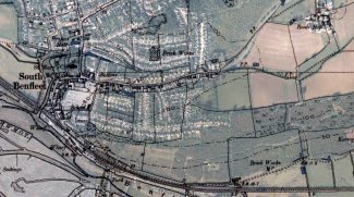 Map from 1895 showing two brickworks overlaid on modern map.