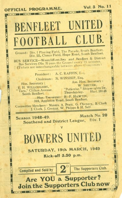 19th March 1949: v Bowers United