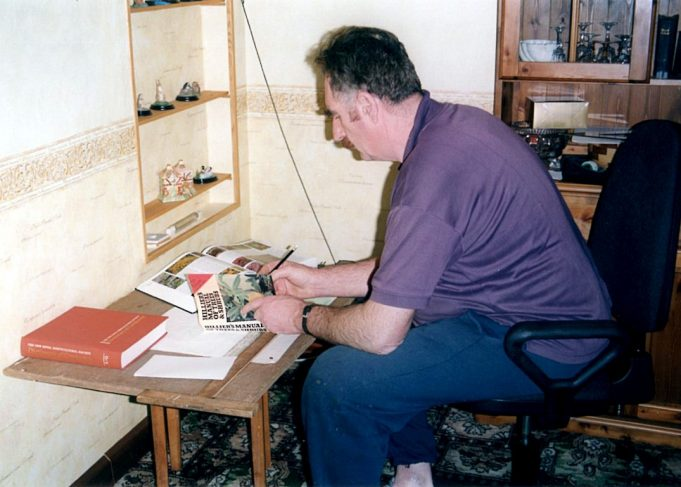 John Grimwood working on plans for the garden 2000.