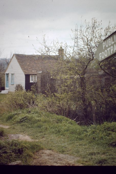House at the bottom of Jotman's Lane by the railway bridge, in Bowers Gifford.  Before the II World War there was a golf course here.  This clapper board building has been replaced by a brick built bunglow and the farmland is used for stables. | John Turner