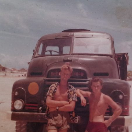Ken Mead (the taller man) and Ernie Rogers with the army truck they took on leave to escape the army when on leave. | Ernie Rogers