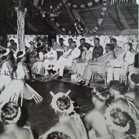 The Duke of Edinburgh was given a reception by the local tribes people who had been brought in to work the plantations from the Gilbert Islands, as serving soldiers we were not invited. | Ernie Rogers