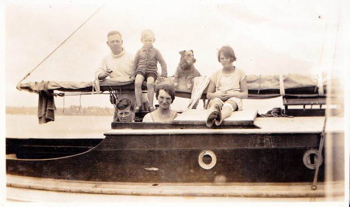 The Brown family out on the boat.  Back row: Jack, Ken, the family dog, Ken's sister Win.  Front row: Ken's brother Doug and Miriam.  The location of this photo is unknown but the date is thought to be 1930/31 | Eileen Brown
