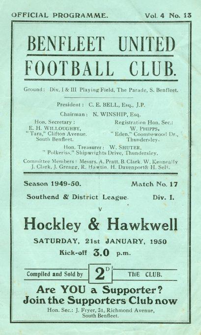 21st January 1950: v Hockley & Hawkwell