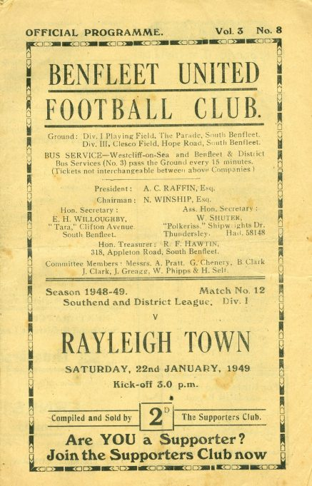 22nd January 1949: v Rayleigh Town