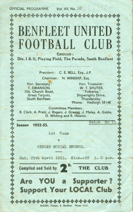 25th April 1953: v Oxford Social Sports