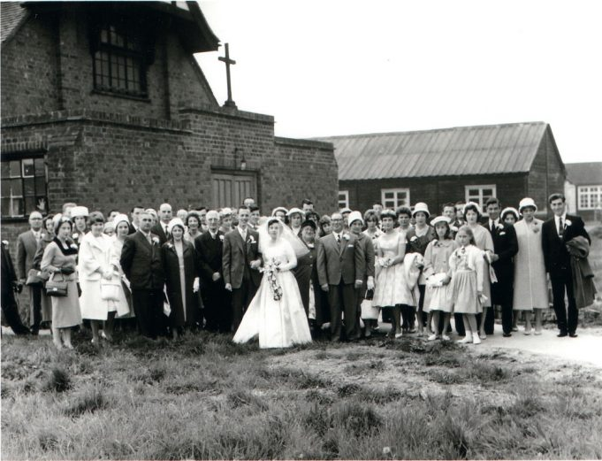Wedding at the front of the old church 1961.