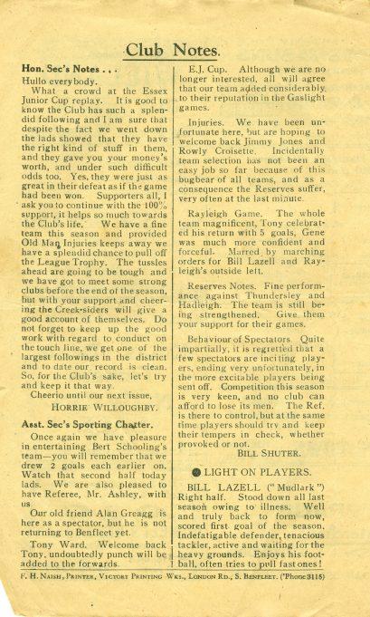 30th October 1948: v Hadleigh Ath.