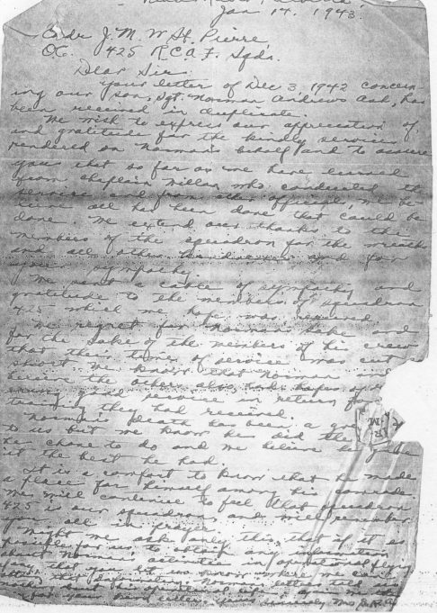 Letter from the family of Sgt Norman Ash of Peace River, Alberta | National Archives of Canada