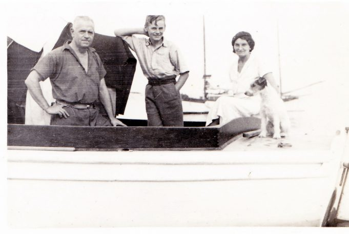 Jack, Ken, Miriam and a different dog. Photo taken somewhere in the creek approx. 1938 | Eileen Brown