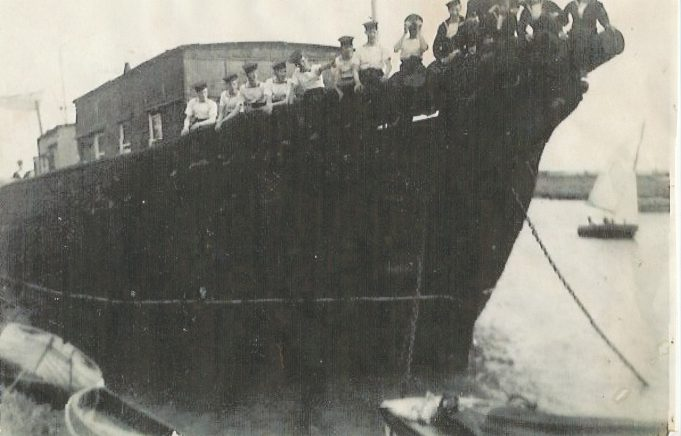 Sea cadets from Woolwich on the S.V. Hervey, a Baltic trading ship, which became the yacht club HQ, with Morris Johnson sailing