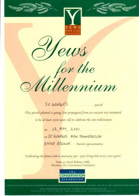 Millenium yew certificate 2000. | St George's Church