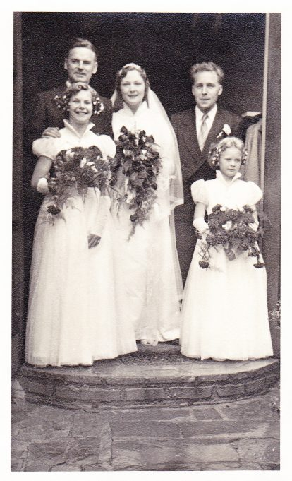Wedding Day of Ken and Eileen, London 1955. Best Man is Norman Gross with Ken's 2 nieces as bridesmaids, Win's daughter Shirley Hill & Doug's daughter Linda Brown | Eileen Brown