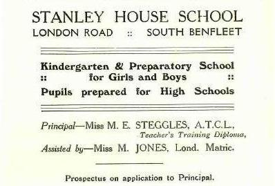 An advertisement for the school which appeared in a B.U.D.C. booklet in the mid 1930s | Castle Point Council