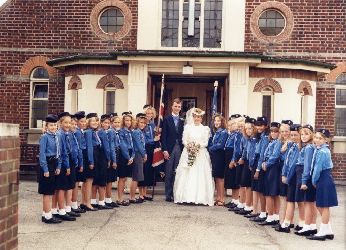 Alan & Melanie Graham's wedding, 2nd September 1989 at Benfleet Methodist Church.  Guard of Honour 3rd South Benfleet Guides.