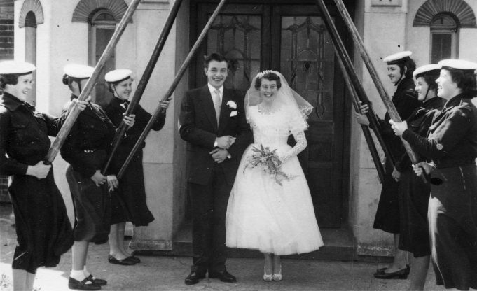 The wedding of Iris Gould, late 1940s, with Arch of Oars.  Iris was a former South Benfleet Sea Ranger.