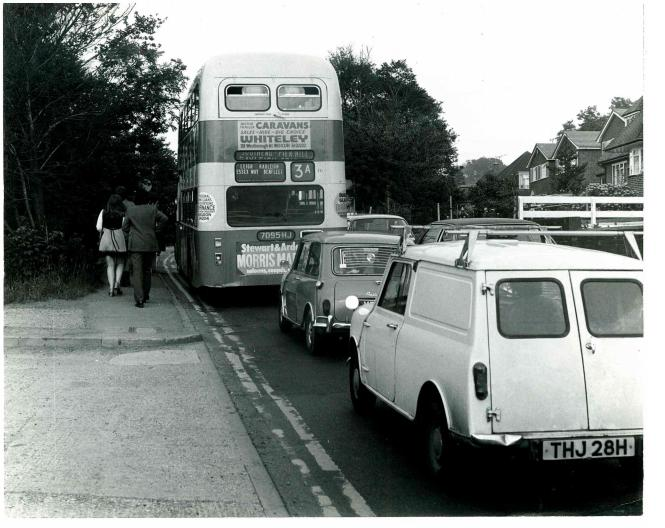 Danger for pedestrians due to the narrow footpath - Early 1970s