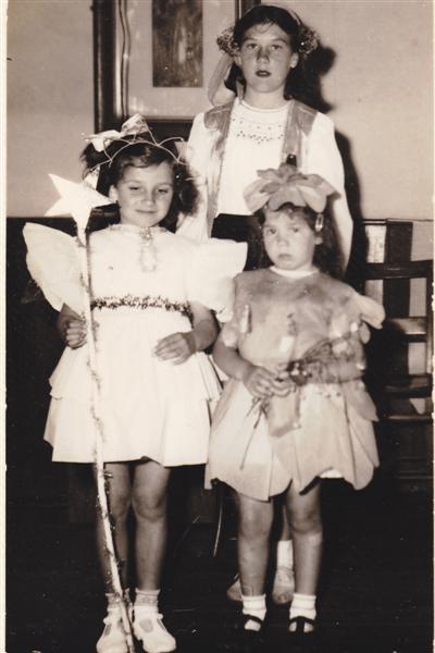 Fancy dress, Rita Batchford as a gipsy, at back.  Doreen Batchford, fairy.  Janice Batchford as Buttercup.   Doreen Batchford