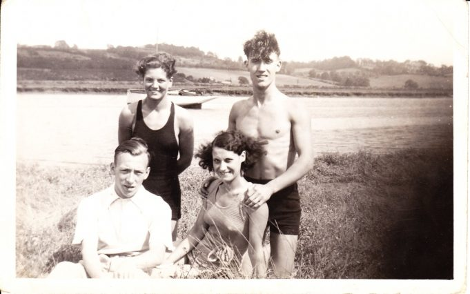 Auntie Flo (top left), Bill Bennewith (top right), Lilian Elmes (front right) and unknown male