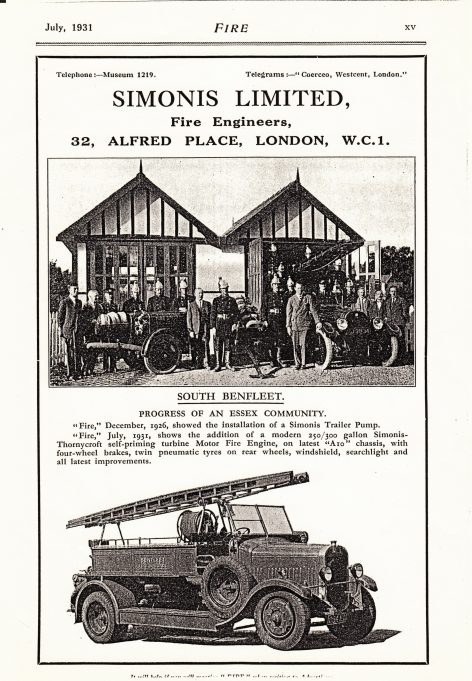 The old fire station circa 1931. The brigade acquired a new engine and we can see from this advertisement they had old and the new engine. | Essex Fire Museum